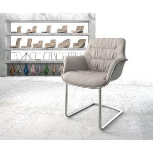 DELIFE Fauteuil Kaira-Flex gris clair rayures cantilever rond acier inoxydable - Publicité