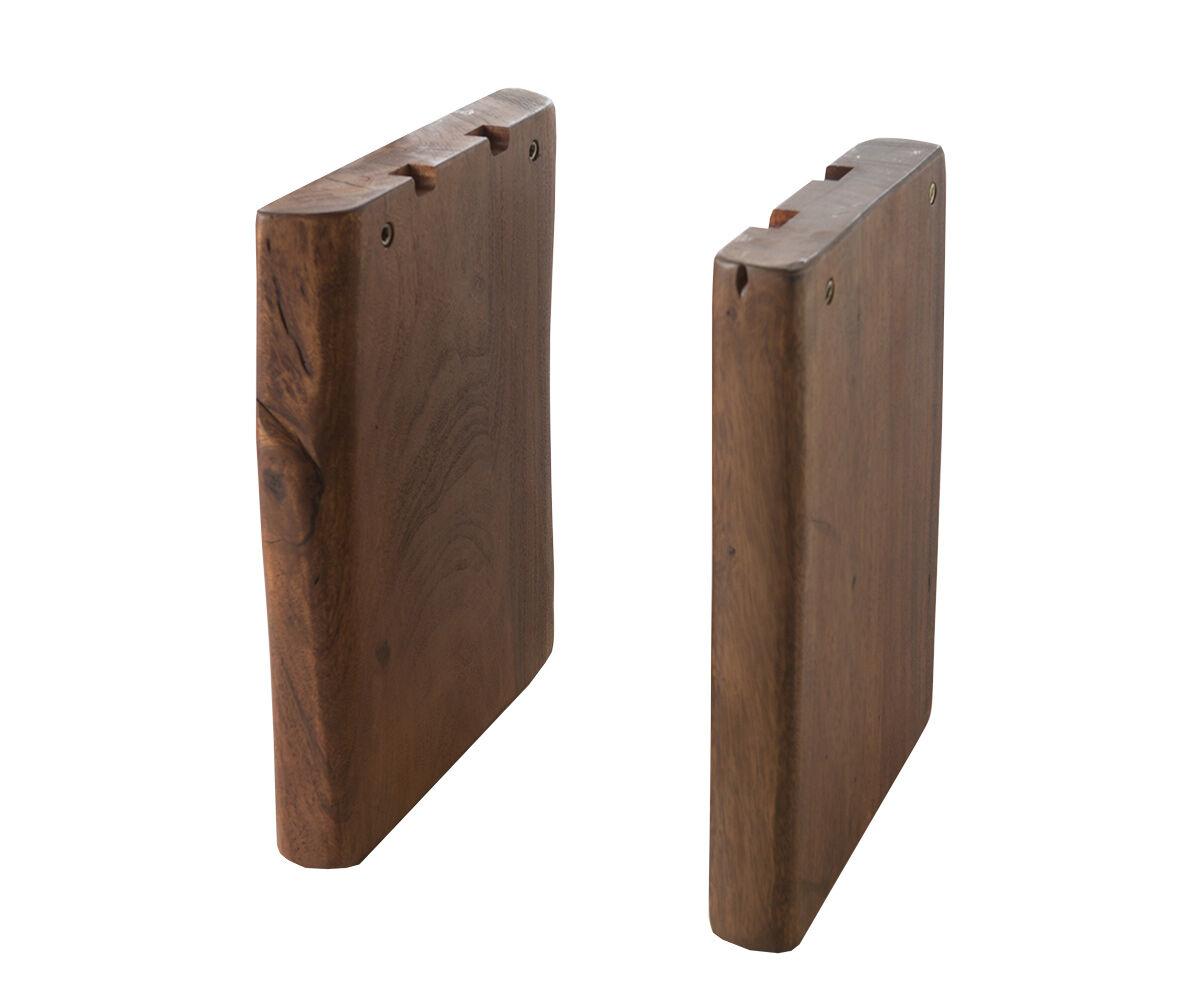 DELIFE Set-de-2-pieds-de-banc Live-Edge banc d'arbres bois massif marron