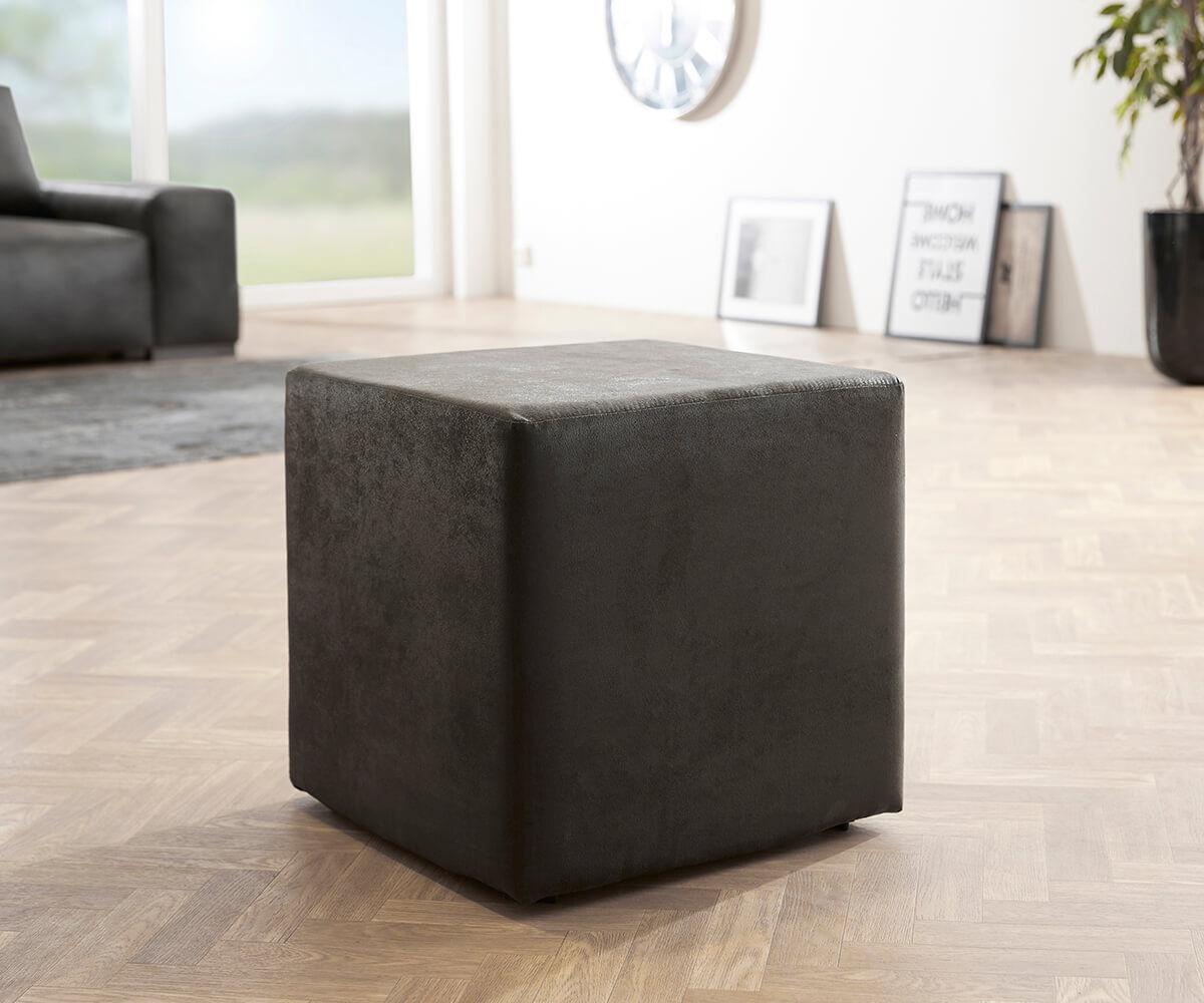 DELIFE Tabouret-cube Dado 45x45 cm tabouret aspect antique anthracite