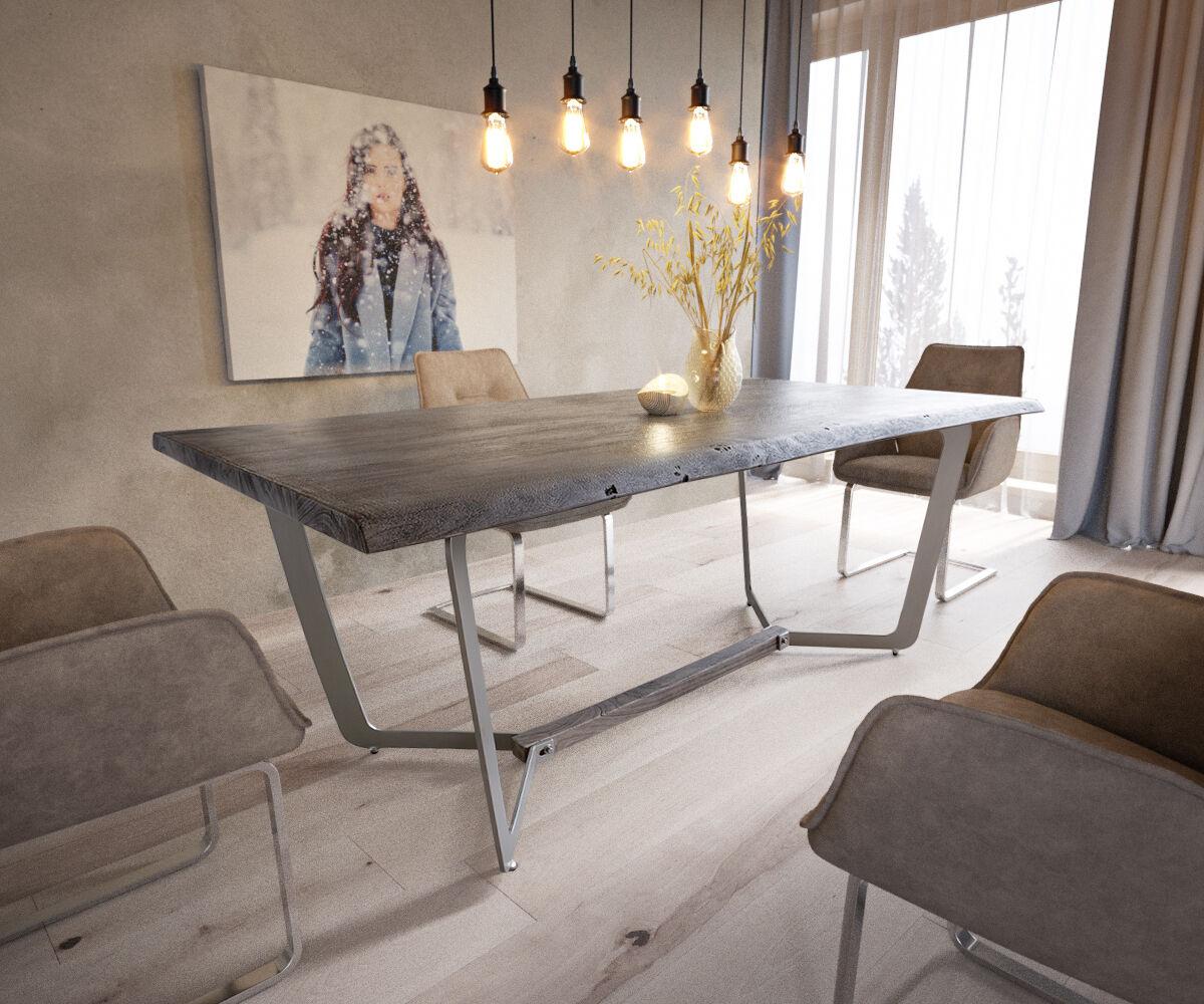 DELIFE Table d'arbre Galeno 193x100 acacia platine cadre métal