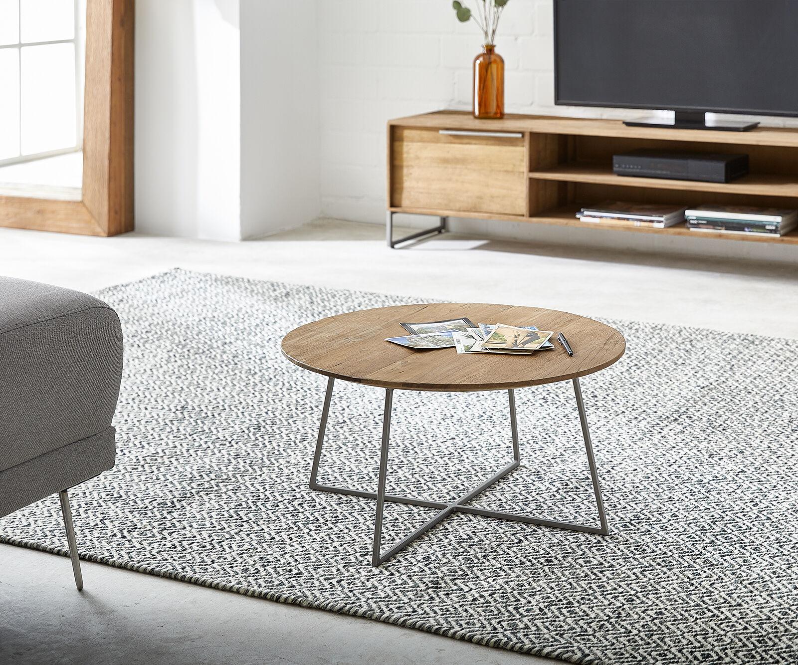 DELIFE Table-basse Leandra 60x60 cm bois exotique cadre métallique nature