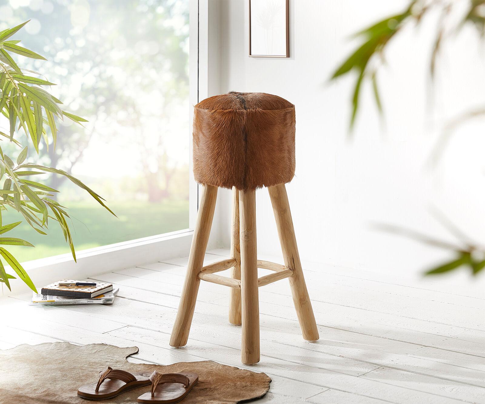 DELIFE Chaise-de-bar Koza 77x36 cm marron peau de chèvre bois de teck