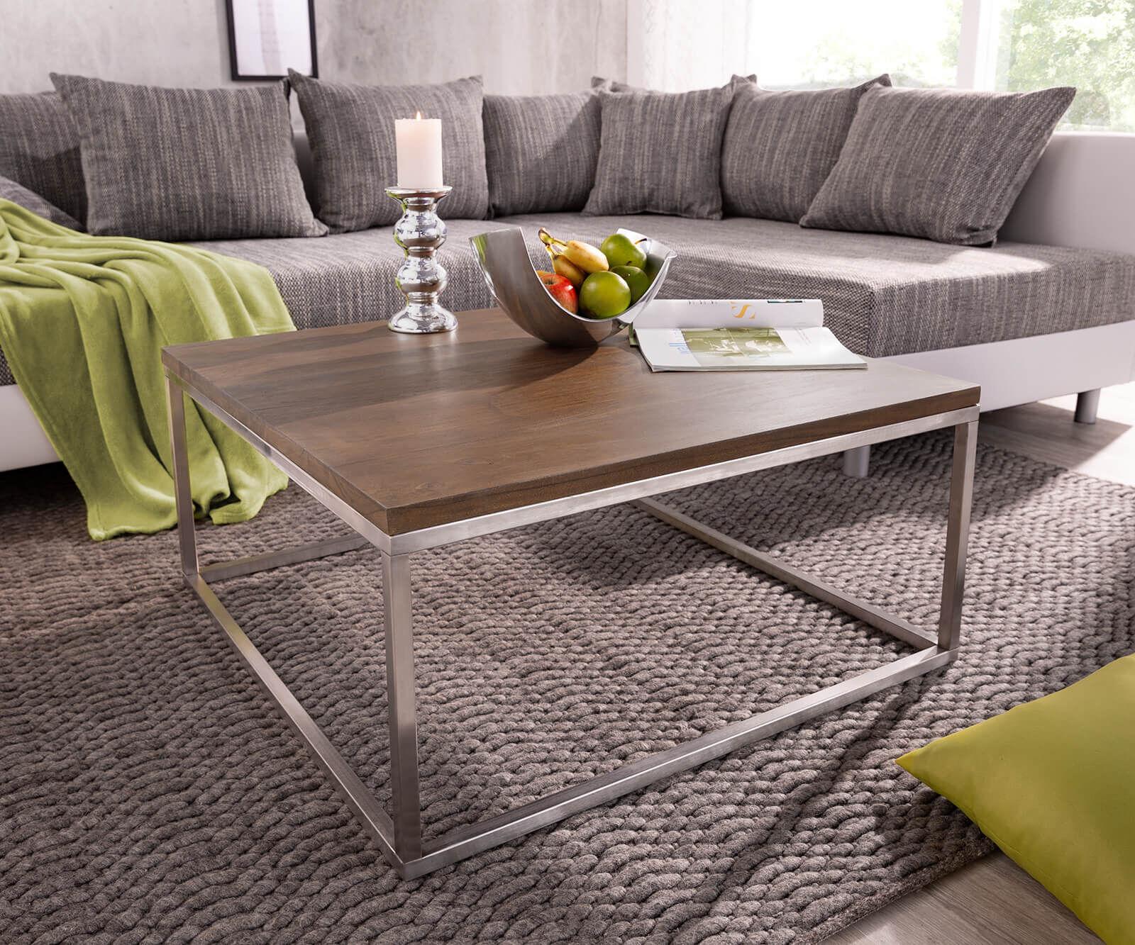 DELIFE Table basse Tatius 80x80cm cadre acacia brun acier inoxydable
