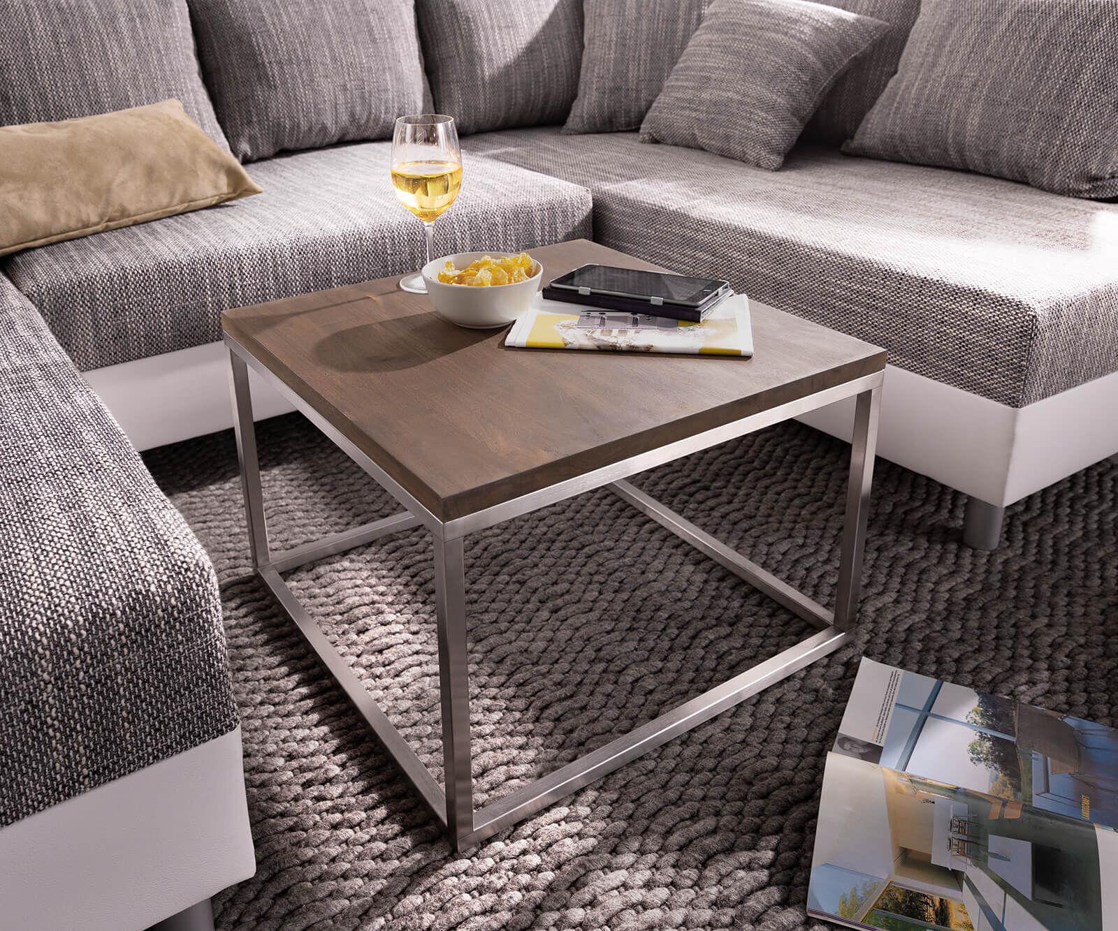 DELIFE Table-basse Tatius 60x60cm cadre acacia brun acier inoxydable