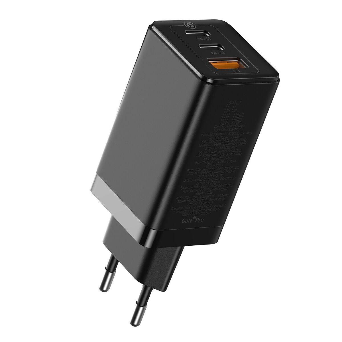 Baseus 65W GaN2 Chargeur d'ordinateur portable USB-C & USB-A, Noir