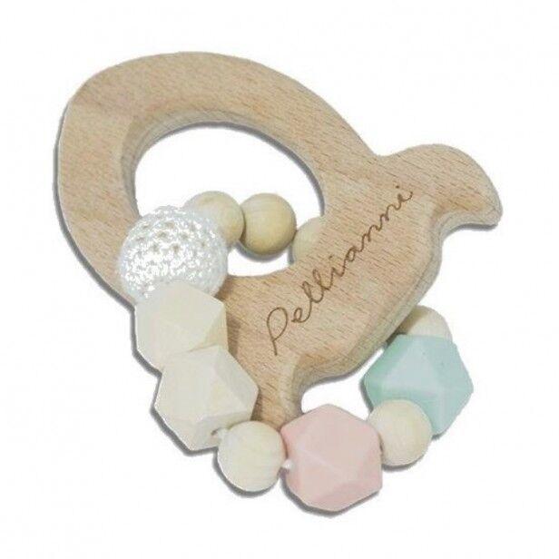 Pellianni Hochet Dentition Bois & Silicone Pastel