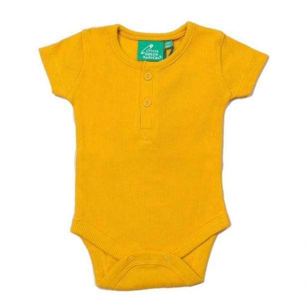 Little Green Radicals Body Bébé en Coton Bio Jaune Ocre