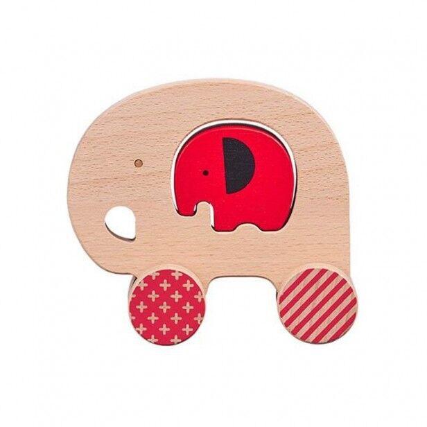 Petit Collage Eléphant à Pousser et son Bébé en Bois