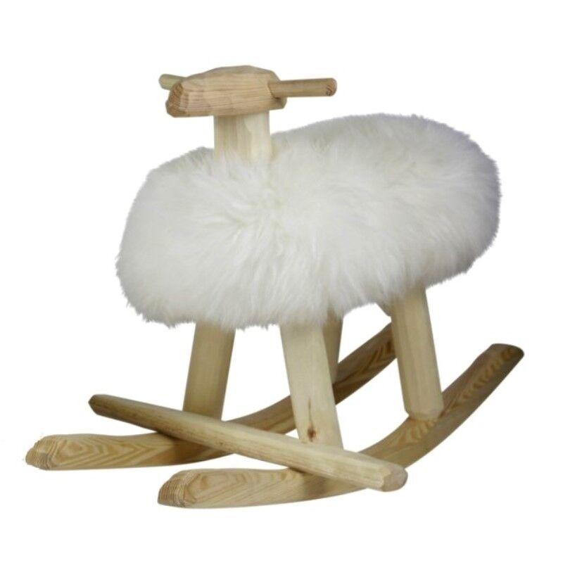 Suède Import Mouton à Bascule Emil en Bois et Laine d'Agneau