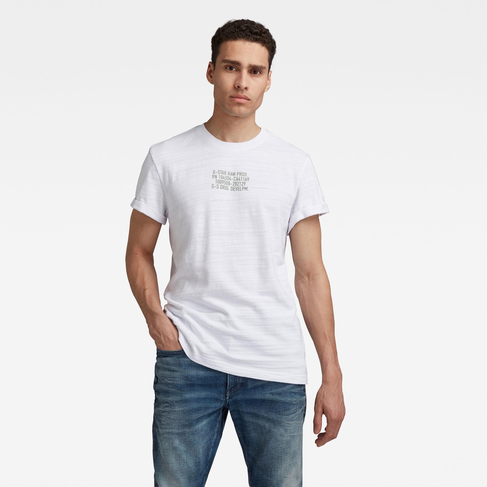 G-star RAW Hommes T-shirt Chest Text Graphic Lash Blanc  - Taille: M L XXS XXL XS XL S