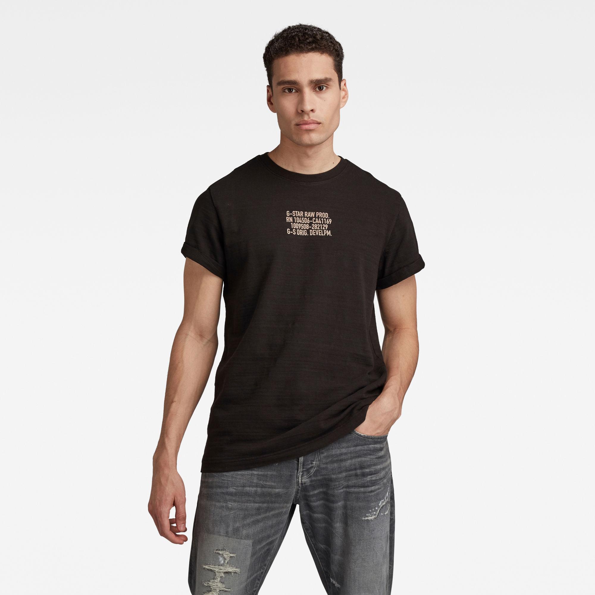 G-star RAW Hommes T-shirt Chest Text Graphic Lash Noir  - Taille: XL L XXS XXL XS S M