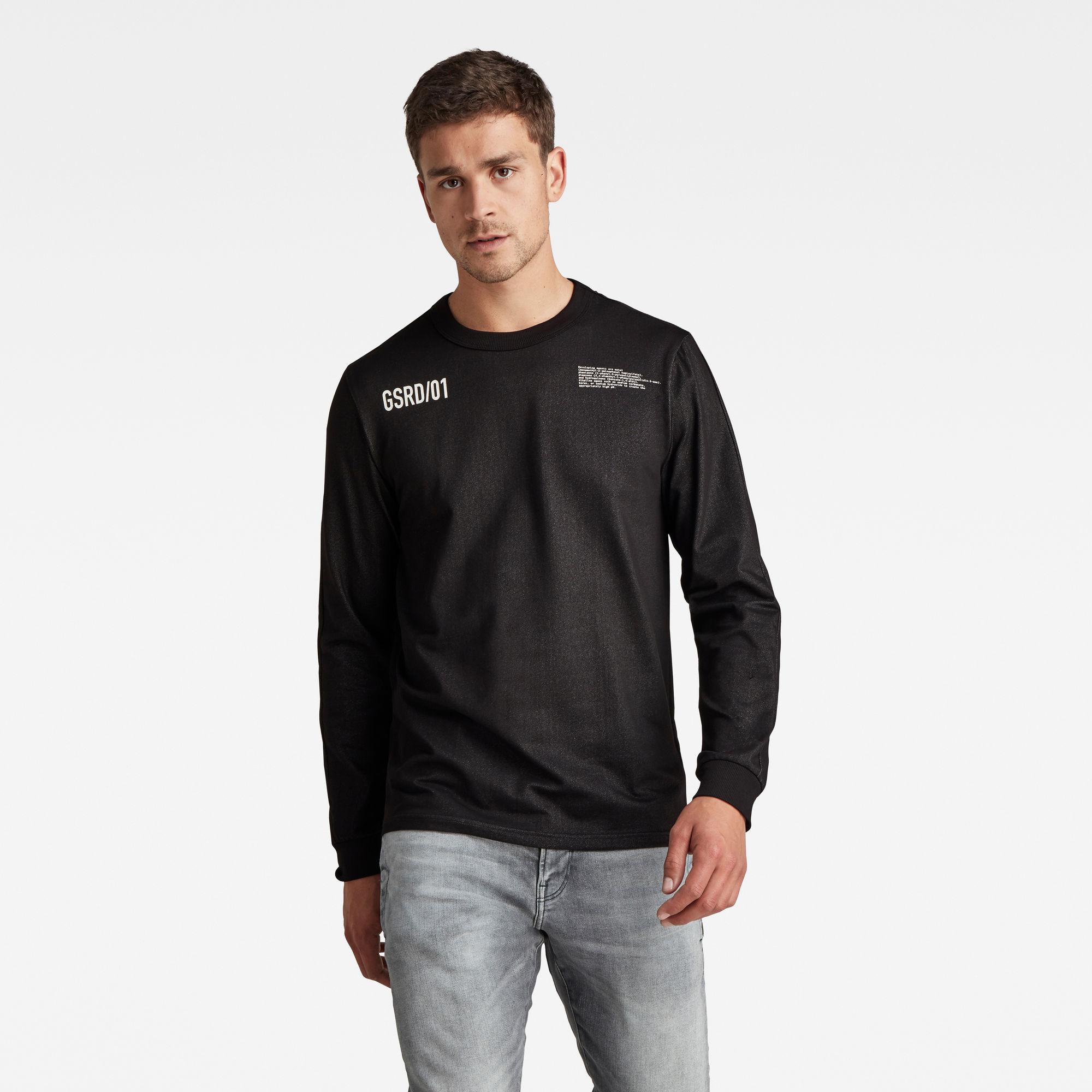G-star RAW Hommes T-shirt Text Tweeter Noir  - Taille: L S XXL XS XL M