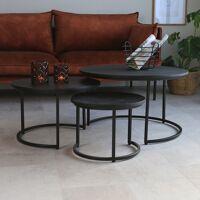 Dimehouse Cedric Table Basse Industrielle Ronde Noir Ø70 / 53 / 40 cm - Bois Massif Set De 3 <br /><b>239.95 EUR</b> Dimehouse