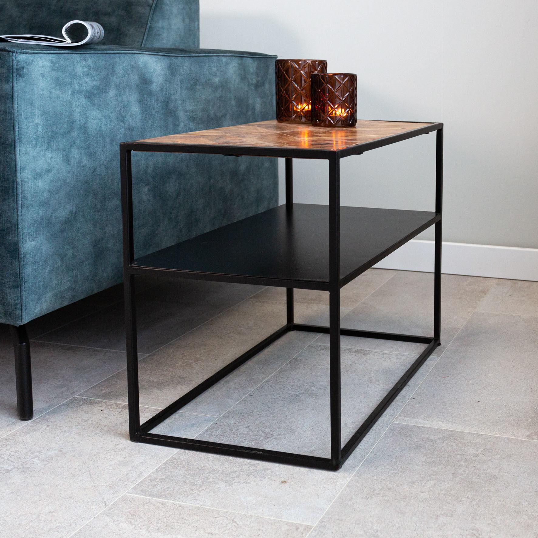 Dimehouse Valerie Table De Chevet Industrielle Bois 40x40 cm