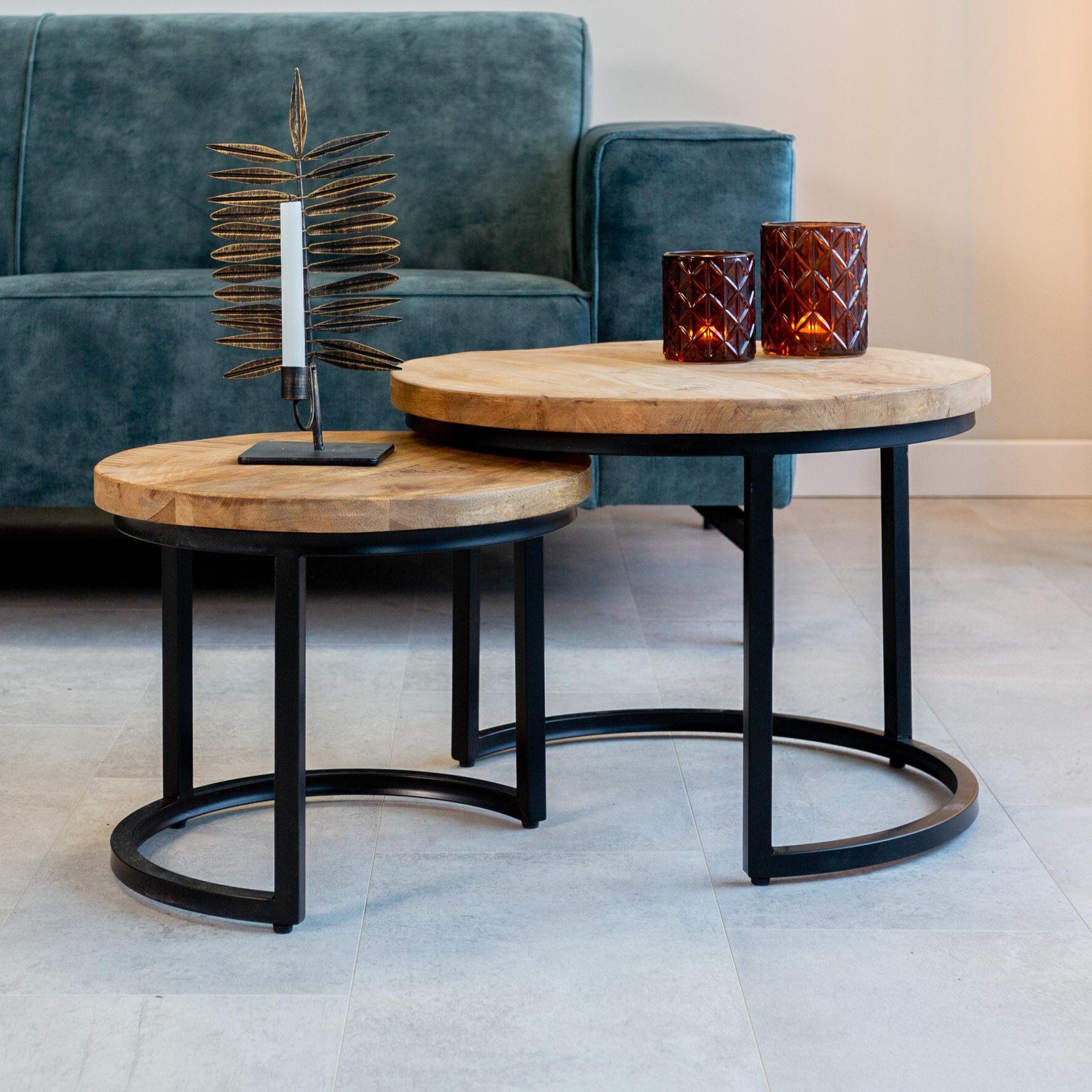 Dimehouse Calla Table Basse Industrielle Ø55 / 42 cm - Bois Massif 3cm