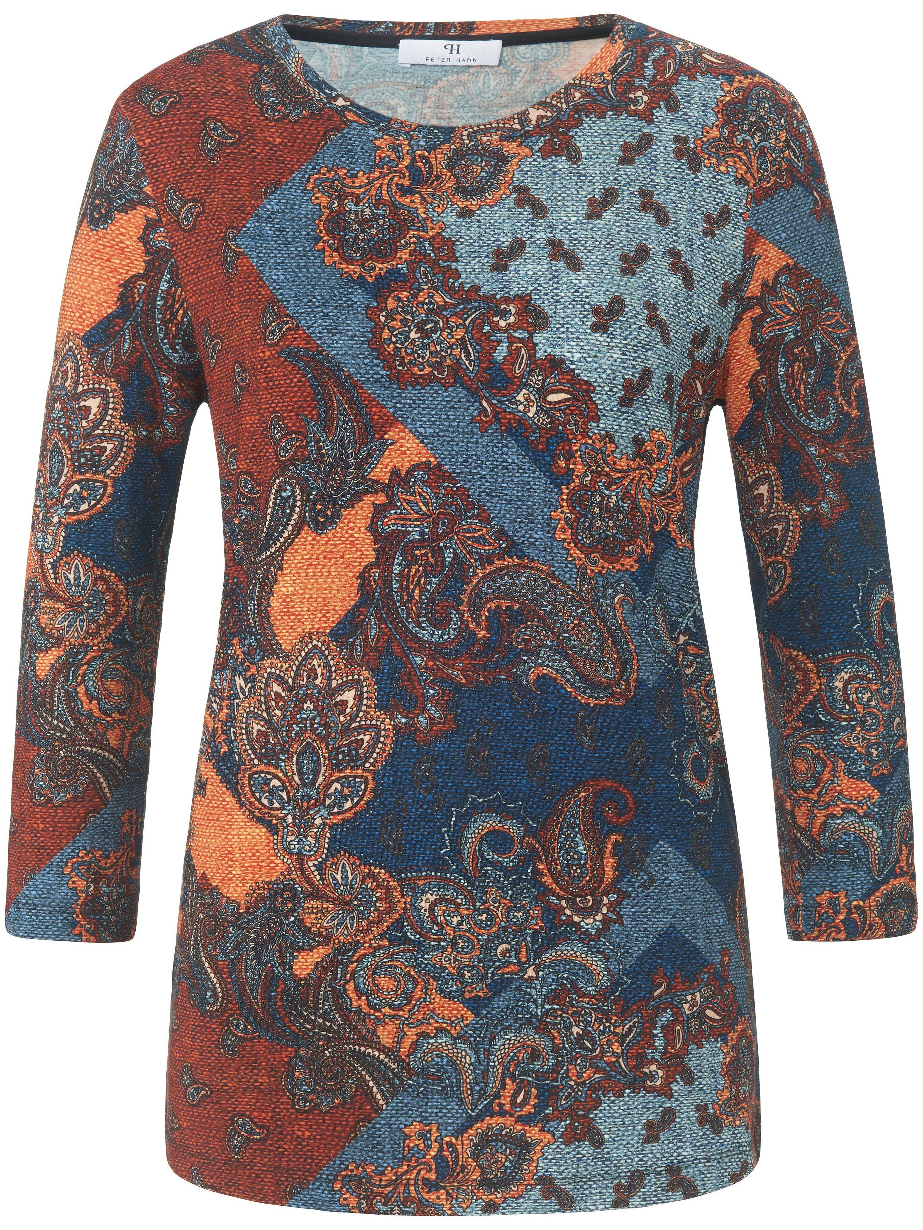 Peter Hahn Le T-shirt à manches 3/4 avec imprimé ornemental  Peter Hahn bleu  - Femme - 38
