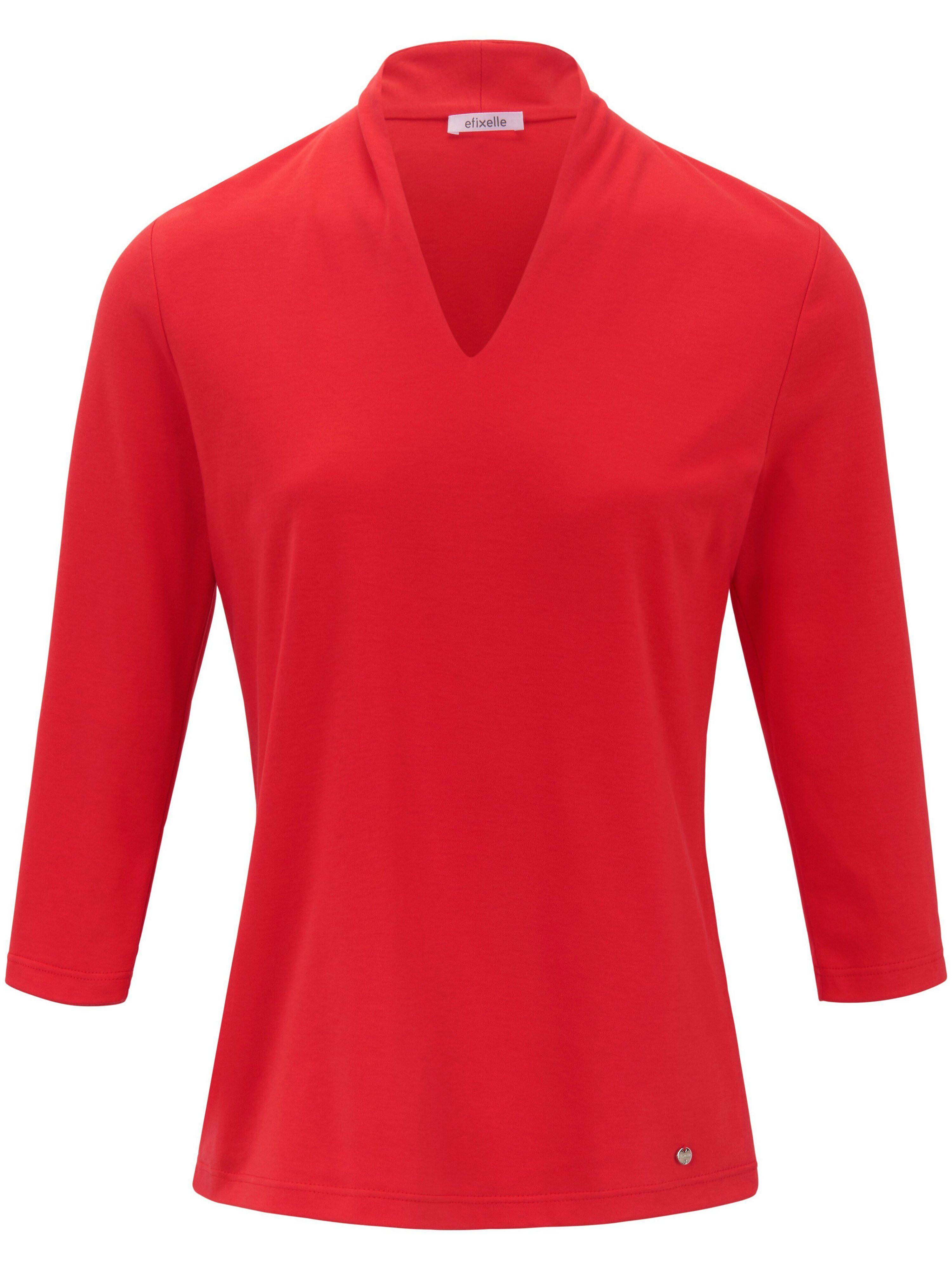 Efixelle Le T-shirt manches 3/4 100% coton  Efixelle rouge  - Femme - 38