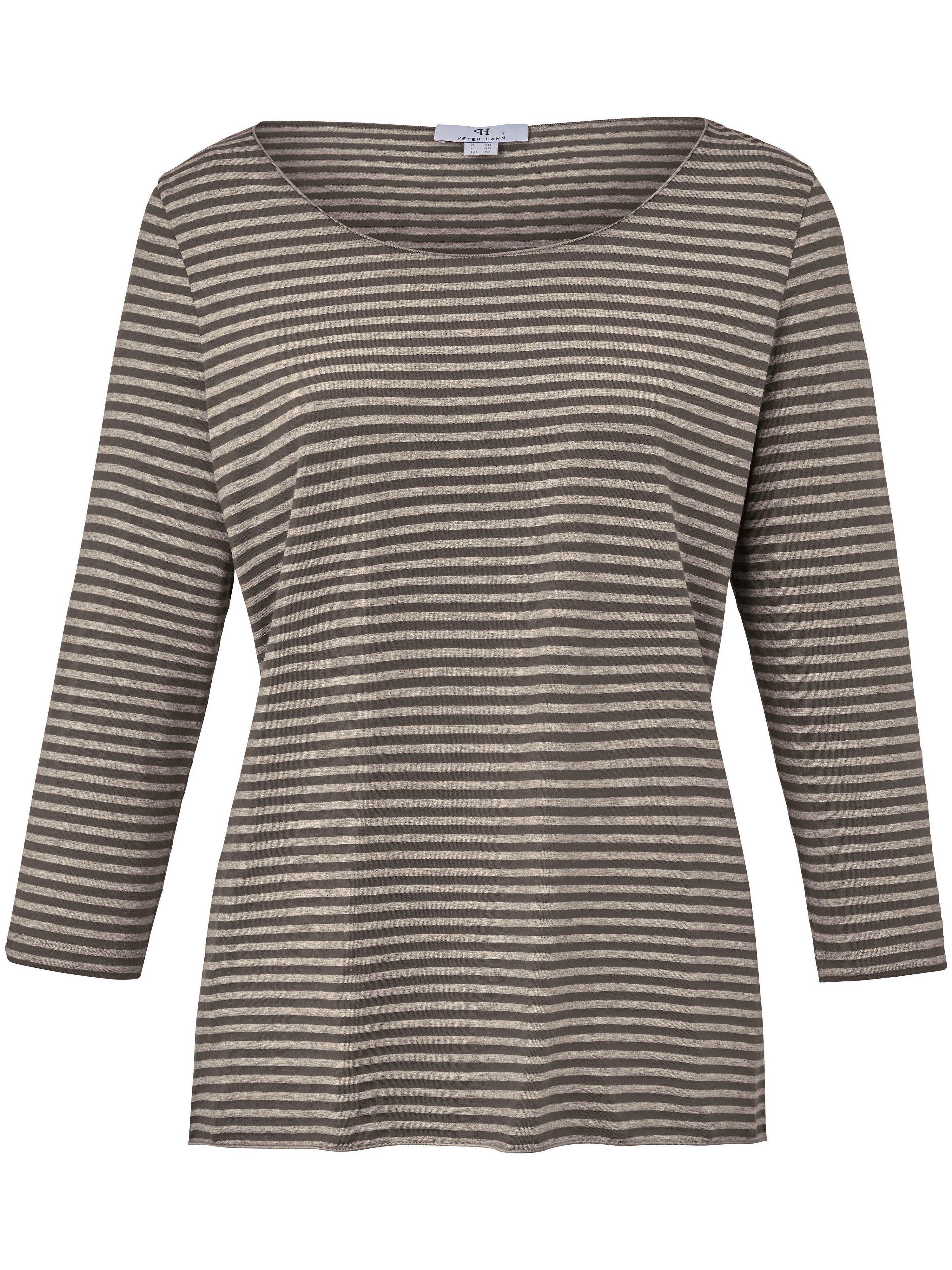 Peter Hahn Le T-shirt finement rayé, manches 3/4  Peter Hahn marron  - Femme - 38