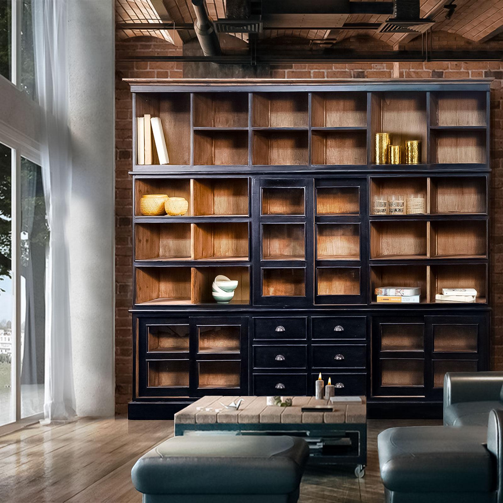 Kha Home Design Grande bibliothèque noir en bois massif GEDE  - Marron