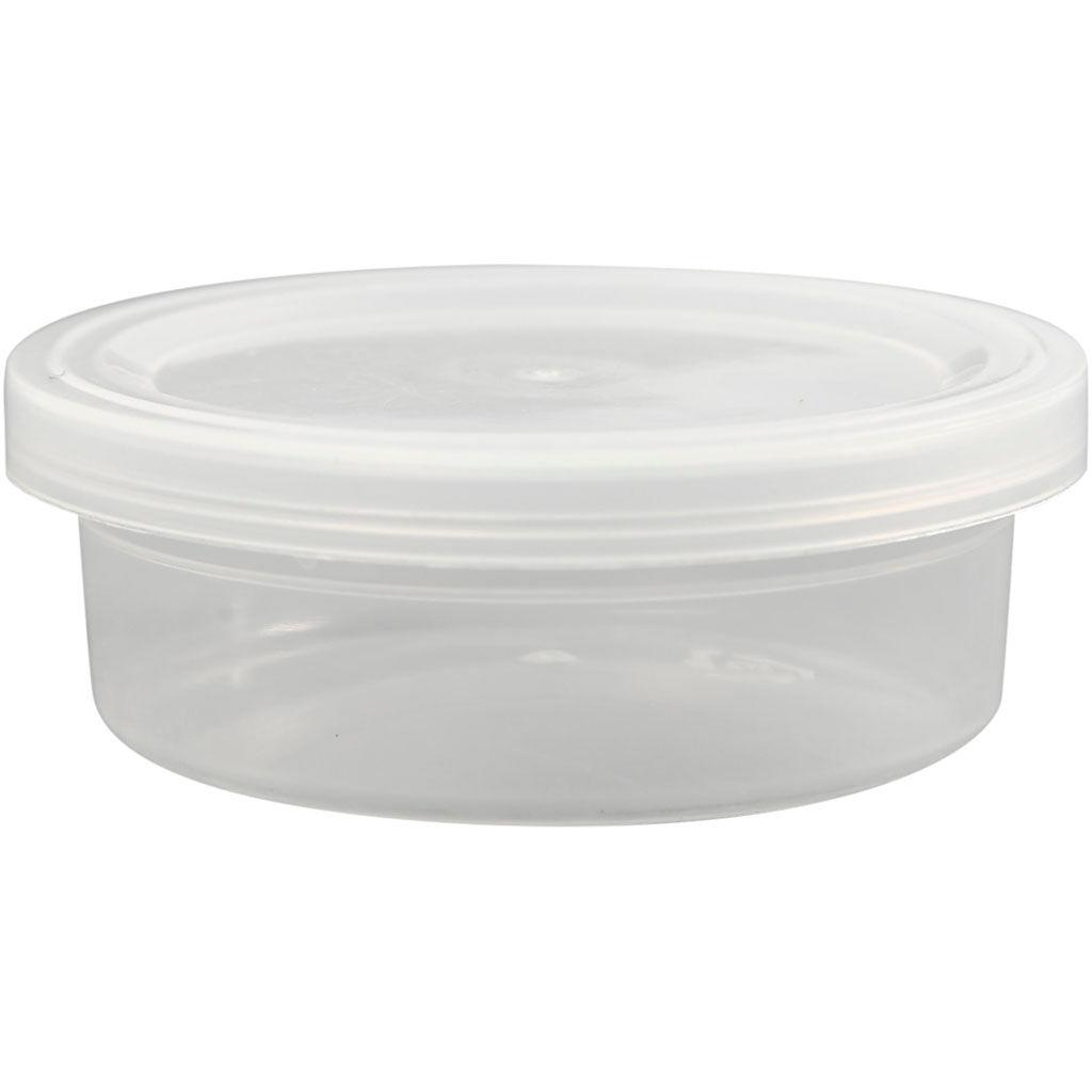 Creativ Company Pot en plastique avec couvercle, H: 24 mm, d: 68 mm, 45 ml, 20 pièce/ 1 Pq.