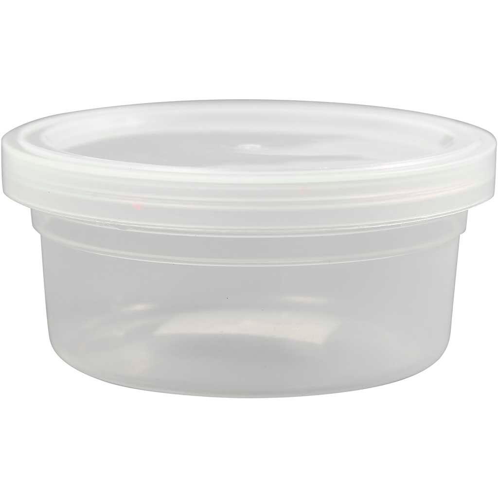 Creativ Company Pot en plastique avec couvercle, H: 38 mm, d: 84 mm, 125 ml, 20 pièce/ 1 Pq.
