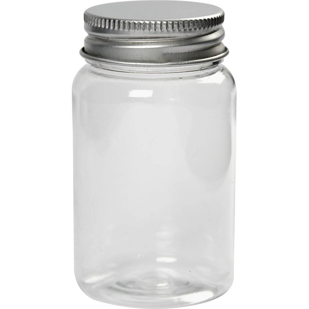 Creativ Company Pot à couvercle vissé, H: 77 mm, d: 45 mm, 100 ml, 10 pièce/ 1 Pq.