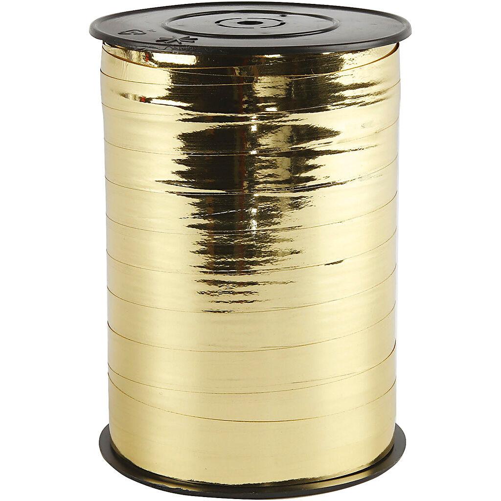 Creativ Company Ruban cadeau, L: 10 mm, brillante, or métallique, 250 m/ 1 rouleau