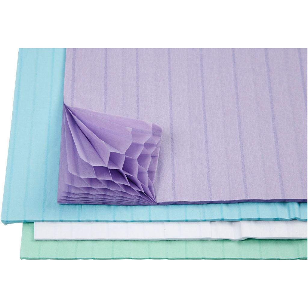 Creativ Company Papier nid d'abeille, 28x17,8 cm, bleu clair, vert, violet, blanc, 4x2 flles/ 1 Pq.