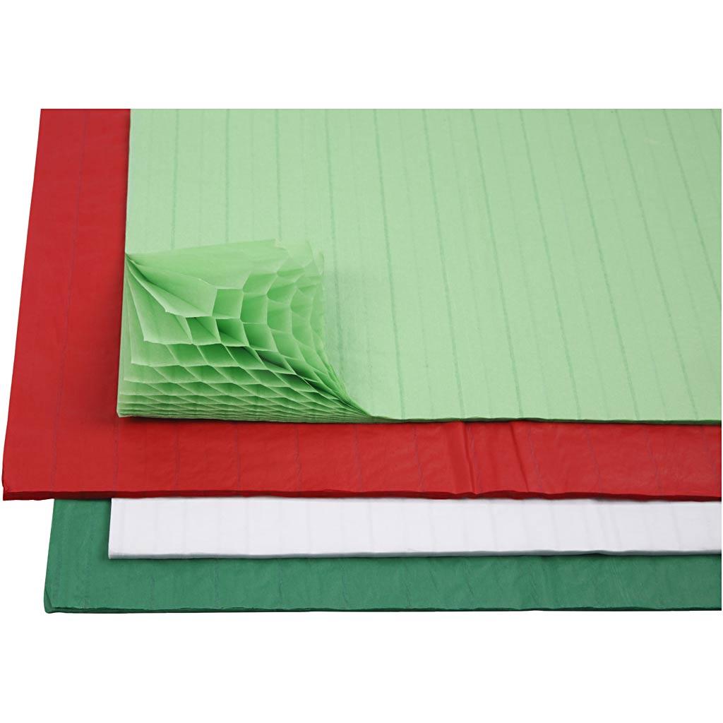 Creativ Company Papier nid d'abeille, 28x17,8 cm, couleurs assorties, 4x2 flles/ 1 Pq.