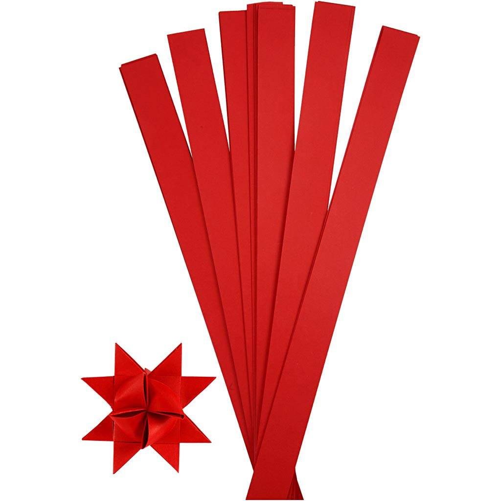 Creativ Company Bandes de papier étoiles, L: 73 cm, d: 11,5 cm, L: 25 mm, rouge, 100 bandes/ 1 Pq.