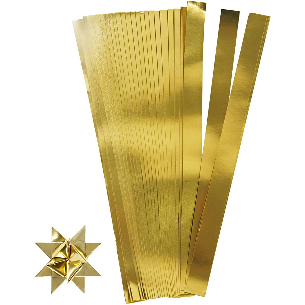 Creativ Company Bandes de papier étoiles, L: 73 cm, d: 11,5 cm, L: 25 mm, or, 100 bandes/ 1 Pq.