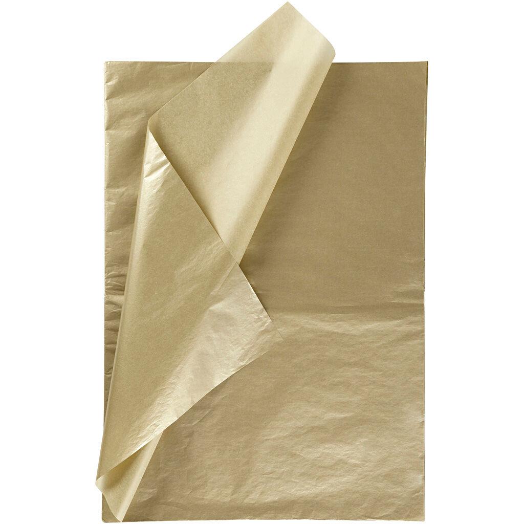 Creativ Company Papier de soie, 50x70 cm, 17 gr, or, 25 flles/ 1 Pq.