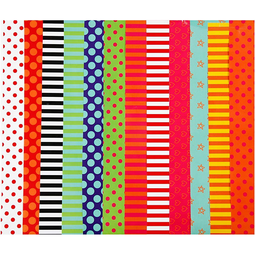 Creativ Company Papier glacé, motifs, 24x32 cm, 80 gr, couleurs assorties, 50 flles ass./ 1 Pq.