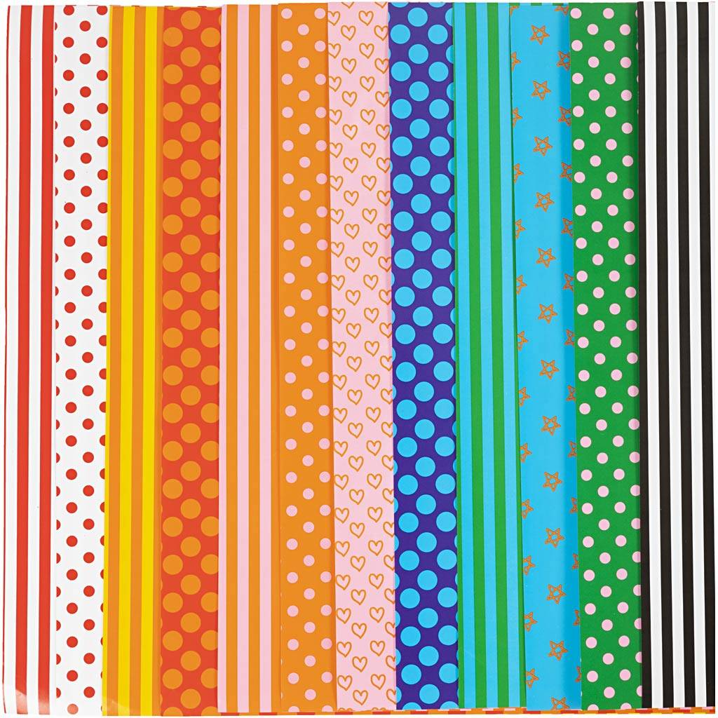 Creativ Company Papier glacé, motifs, 32x48 cm, 80 gr, couleurs assorties, 100 flles ass./ 1 Pq.