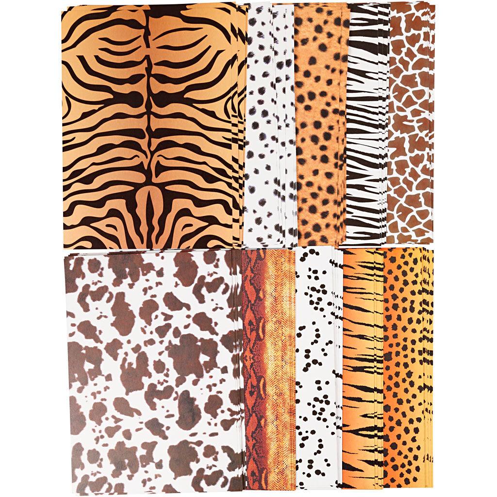 Creativ Company Papier cartonné à motifs animaux, A4, 210x297 mm, 300 gr, 100 flles/ 1 Pq.