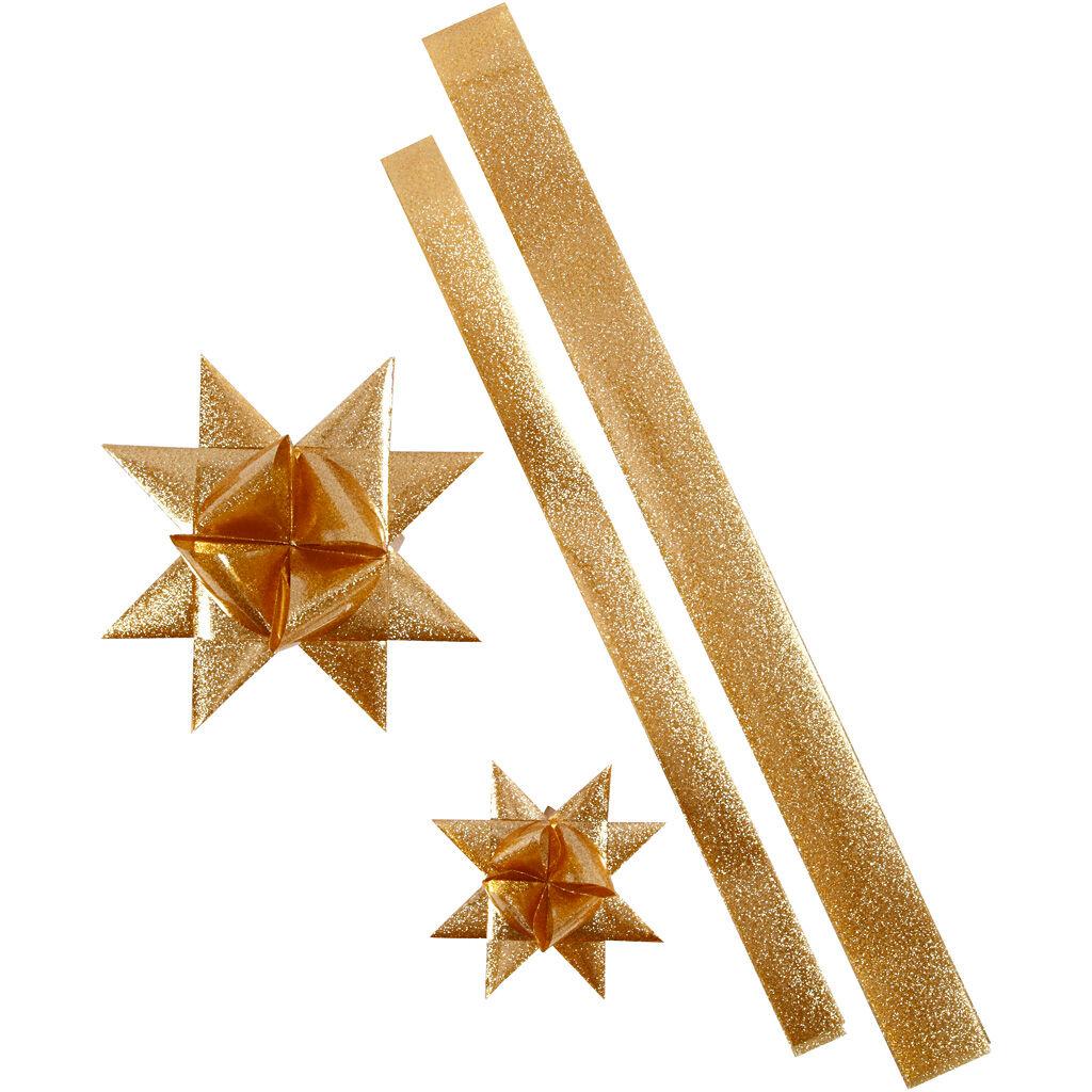 ViviGade Bandes de papier étoiles, L: 86+100 cm, L: 25+40 mm, d: 11,5+18,5 cm, glitter or, 16 bandes/ 1 Pq.