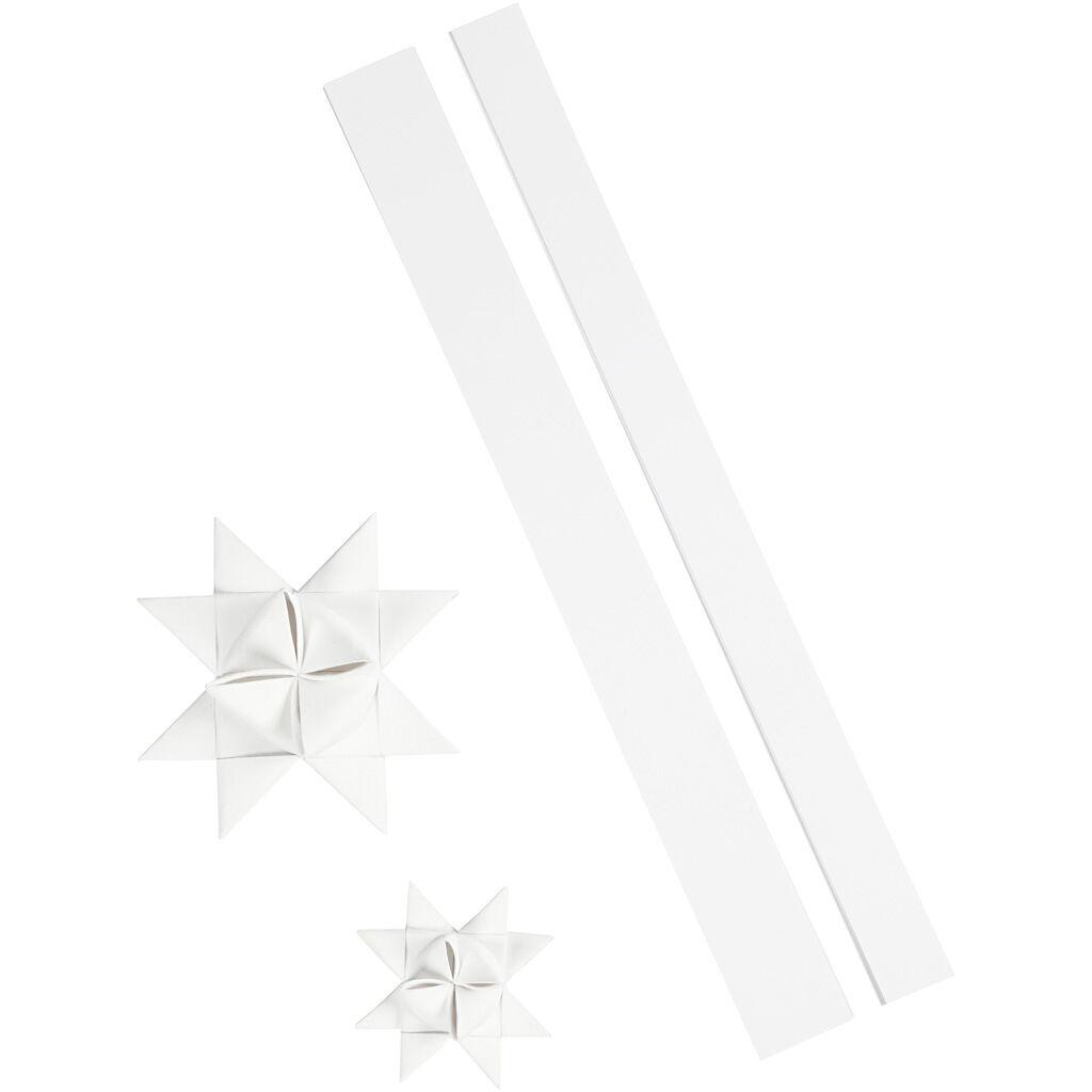 ViviGade Bandes de papier étoiles, L: 86+100 cm, L: 25+40 mm, d: 11,5+18,5 cm, blanc, 16 bandes/ 1 Pq.
