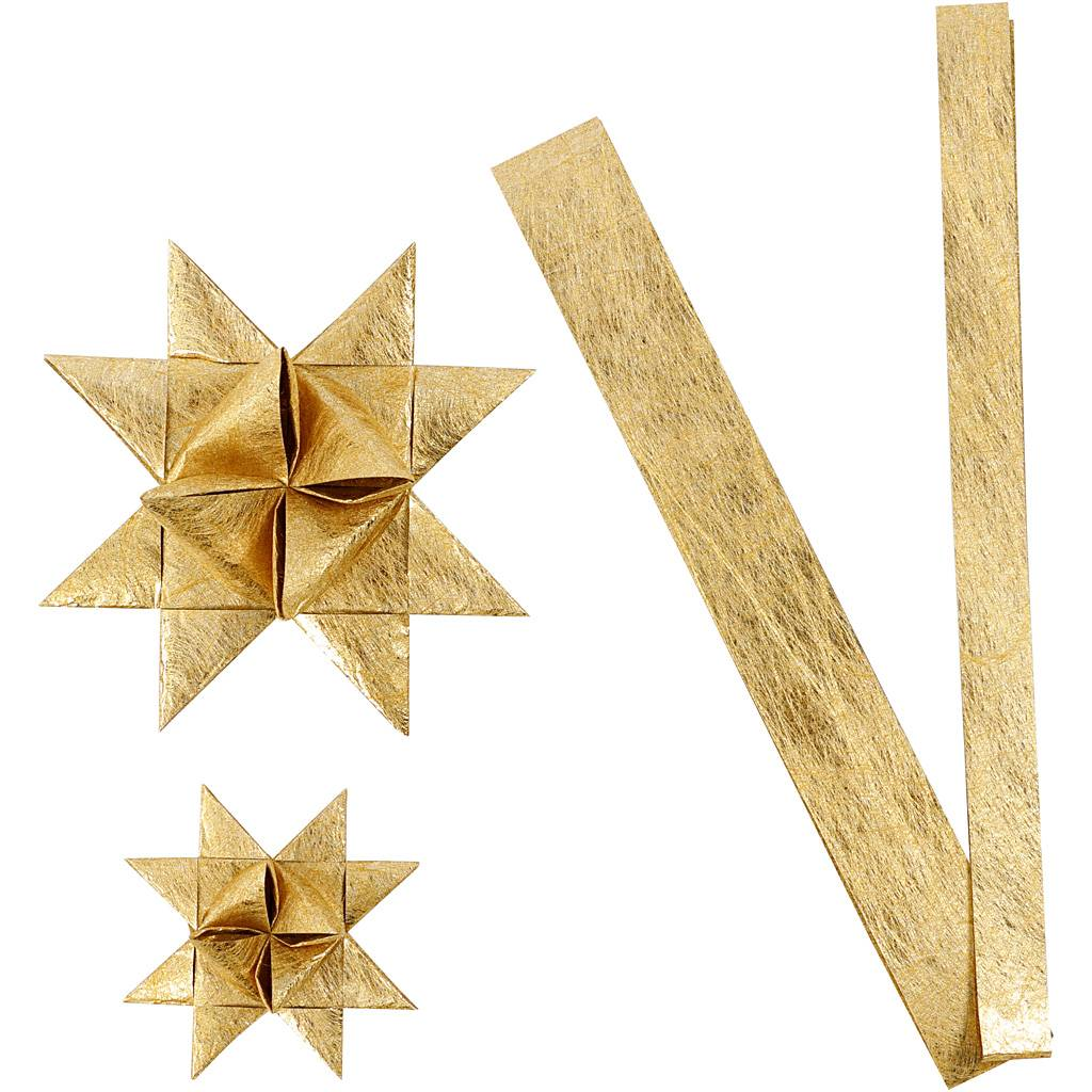 ViviGade Bandes de papier étoiles, L: 44+78 cm, d: 6,5+11,5 cm, L: 15+25 mm, or, 32 bandes/ 1 Pq.