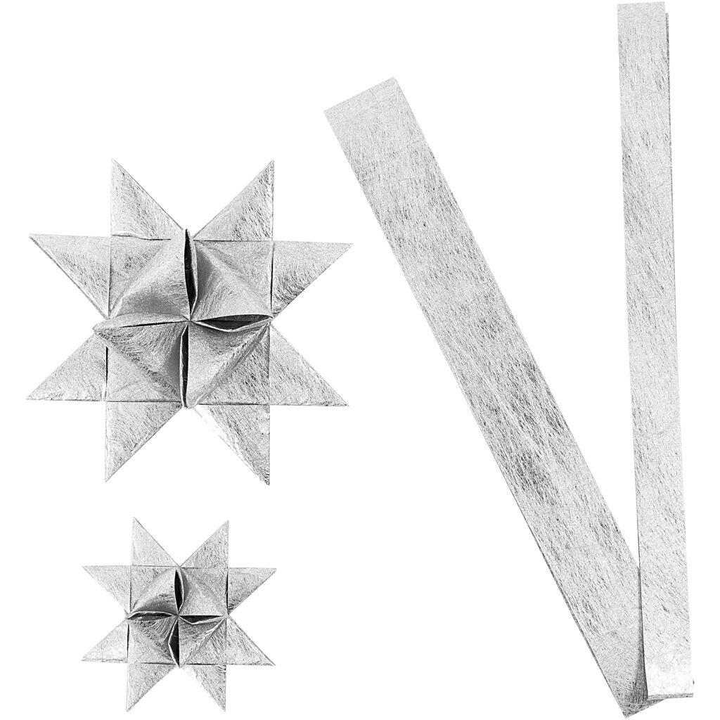 ViviGade Bandes de papier étoiles, L: 44+78 cm, d: 6,5+11,5 cm, L: 15+25 mm, argent, 32 bandes/ 1 Pq.