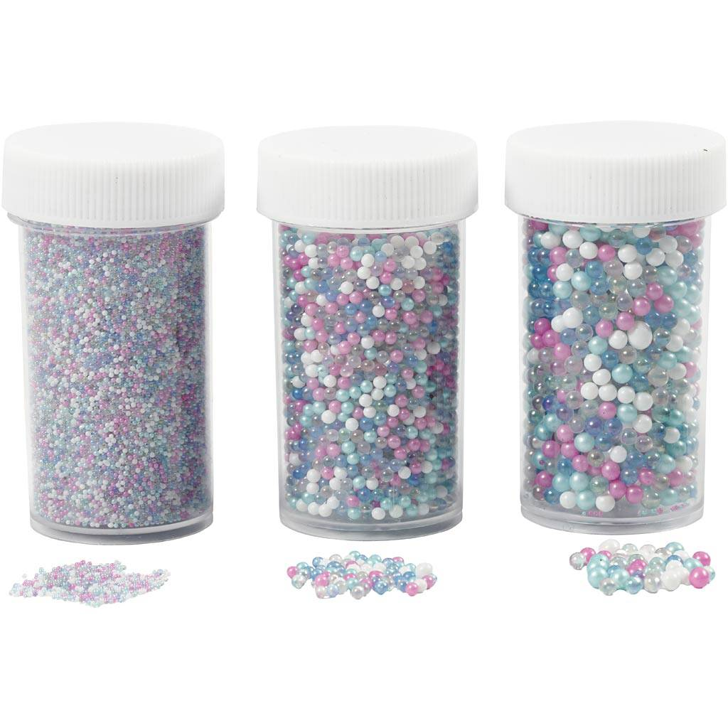 Creativ Company Mini Perles De Verre, 0,6-0,8+1,5-2+3 mm, 45 gr, 3 Boîte
