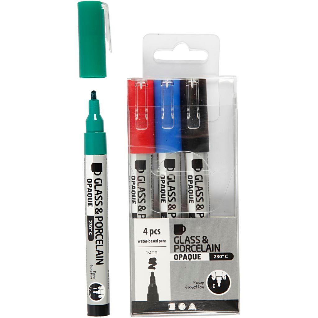 Creativ Company Feutre pour verre et porcelaine, trait 1-2 mm, semi opaque, noir, bleu, vert, rouge, 4 pièce/ 1 Pq.