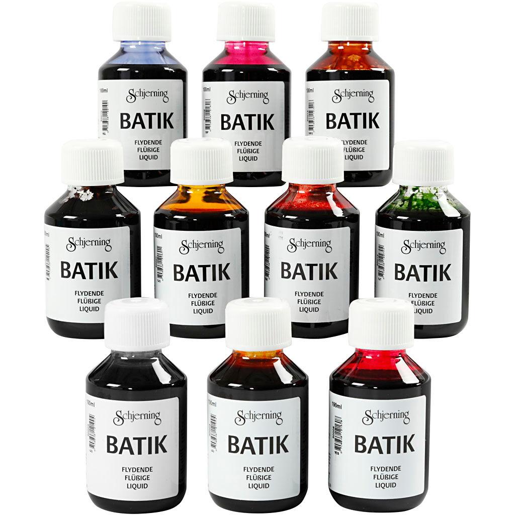 Creativ Company Peinture Batik pour textile, couleurs assorties, 10x100 ml/ 1 Pq.