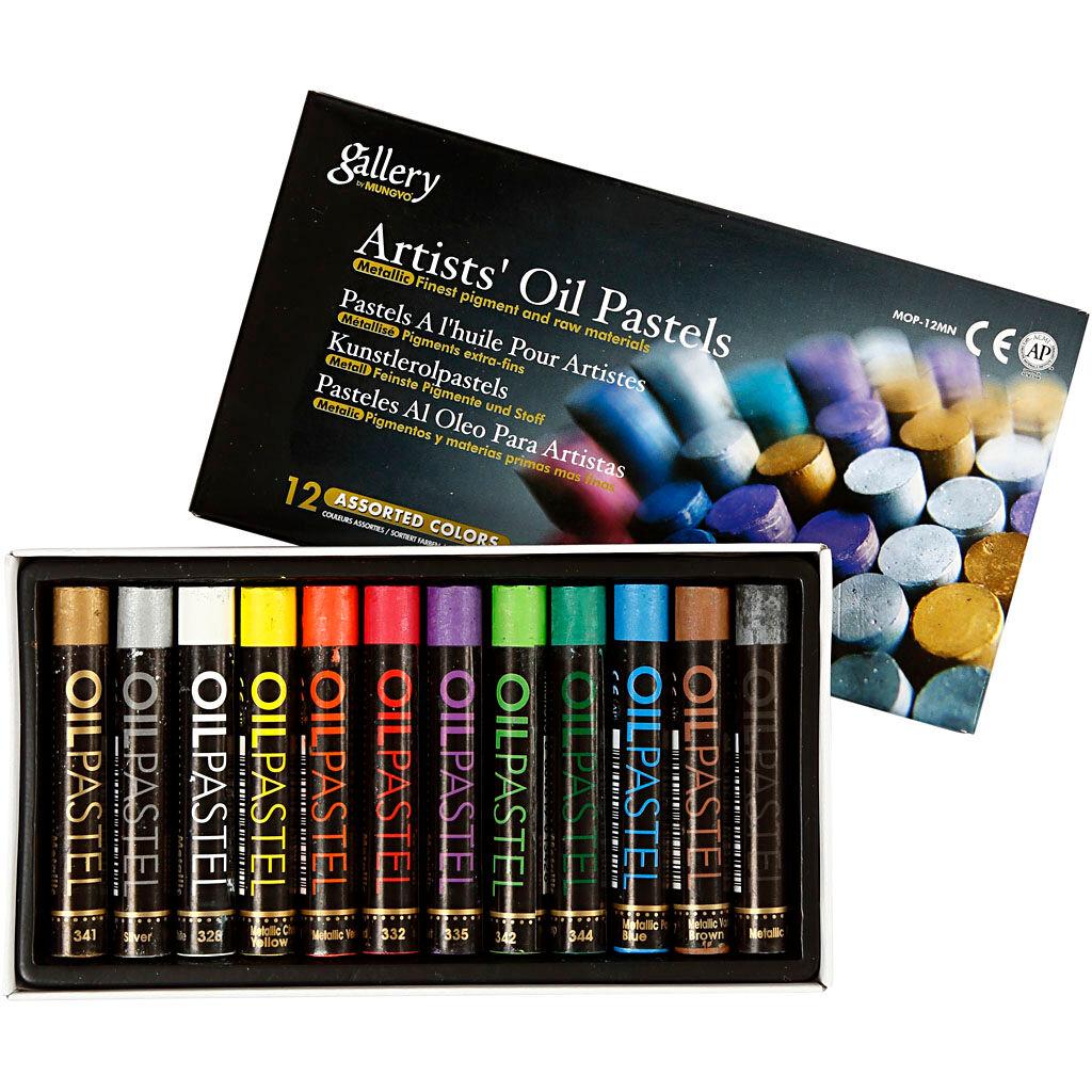 Creativ Company Pastels à l'huile Gallery, L: 7 cm, ép. 11 mm, couleurs métalliques, 12 pièce/ 1 Pq.