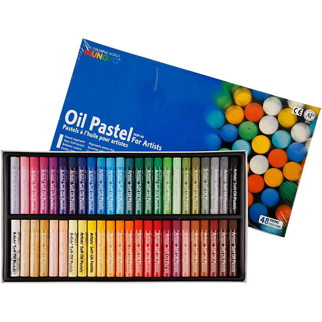 Mungyo Pastels à l'huile Mungyo, L: 7 cm, ép. 11 mm, couleurs assorties, 48 pièce/ 1 Pq.