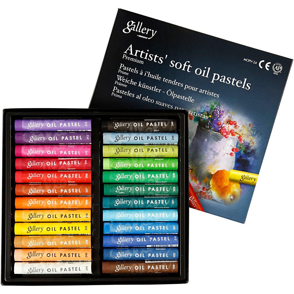 Creativ Company Pastels à l'huile Gallery Premium, L: 7 cm, ép. 10 mm, couleurs assorties, 24 pièce/ 1 Pq.