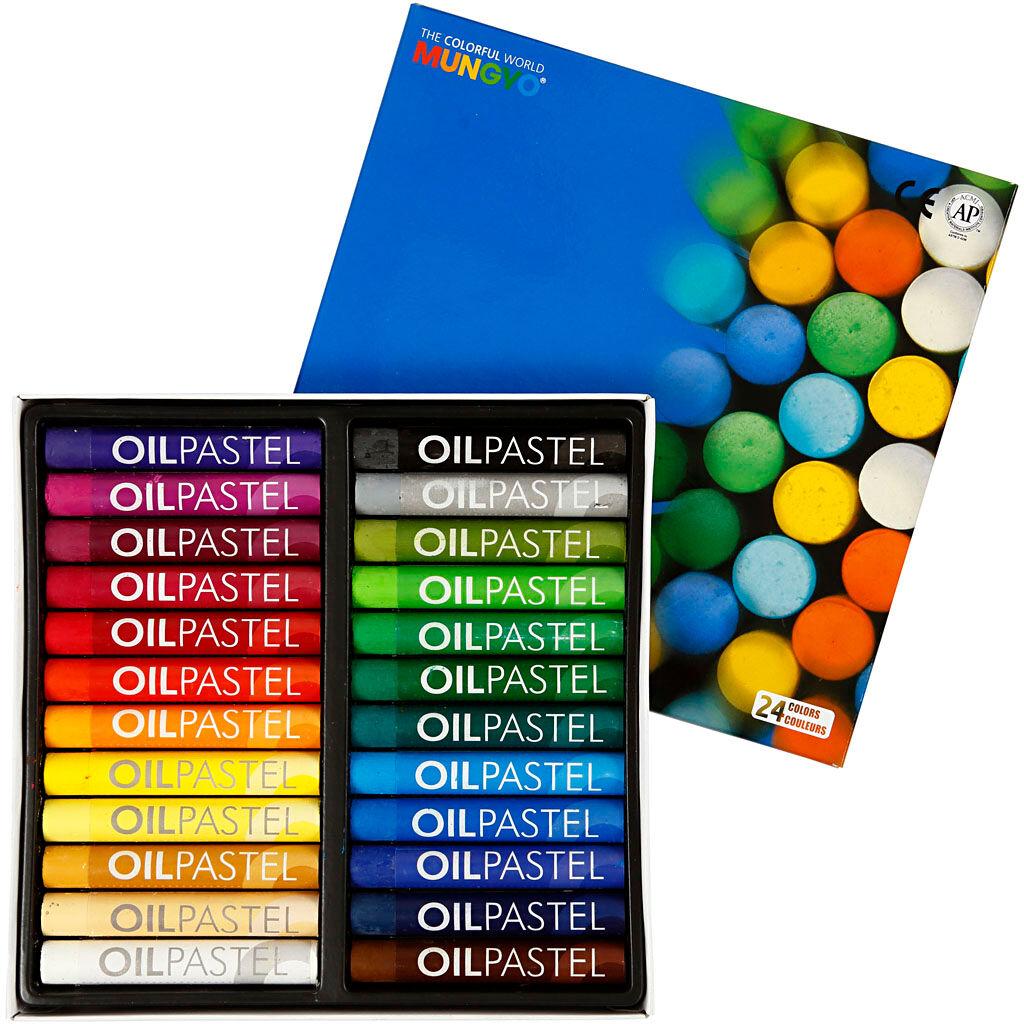 Mungyo Pastels à l'huile Mungyo, L: 7 cm, ép. 11 mm, couleurs assorties, 24 pièce/ 1 Pq.