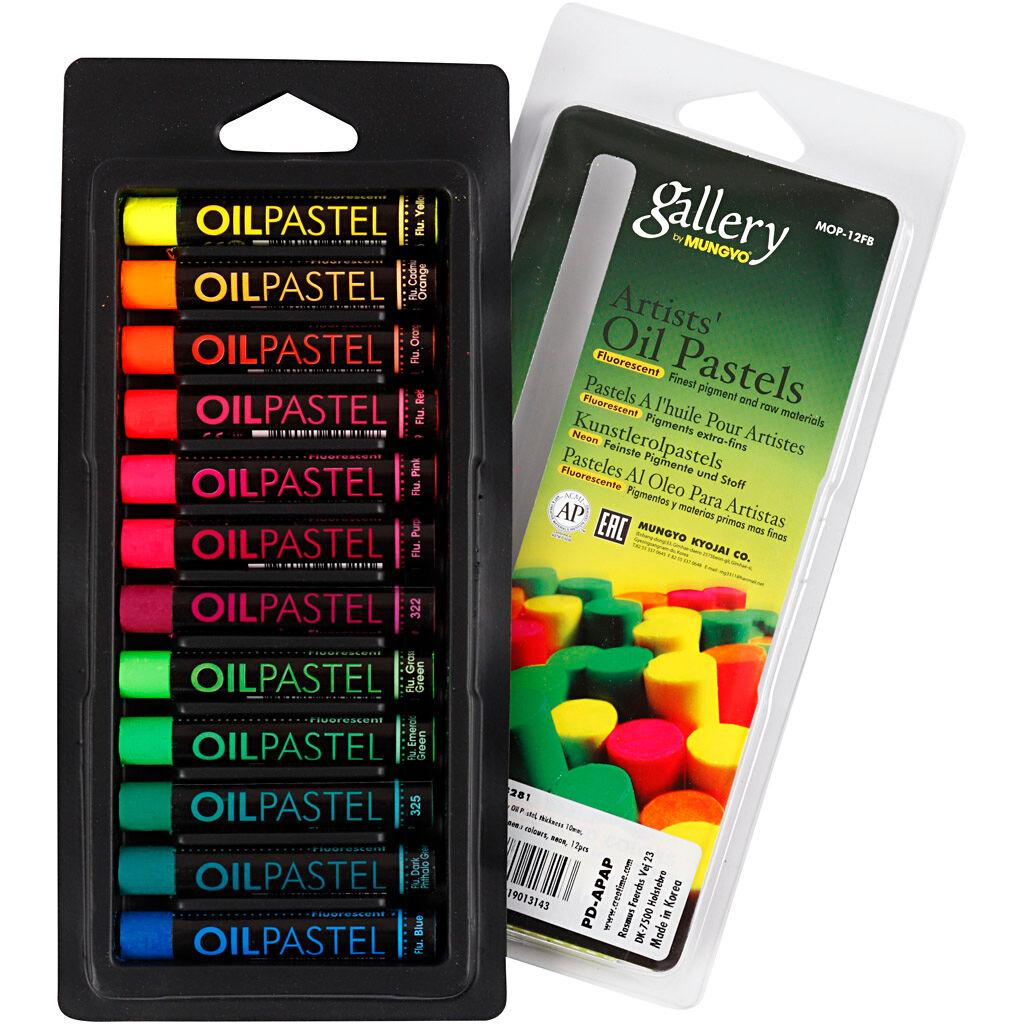 Creativ Company Pastels à l'huile Gallery, L: 7 cm, ép. 11 mm, couleurs néons, 12 pièce/ 1 Pq.