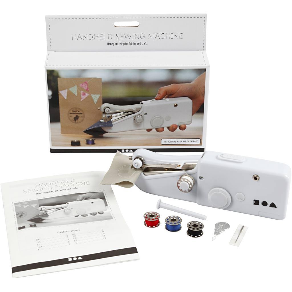 Creativ Company Mini Machine À Coudre Portative, H: 6,7 cm, L: 20,5 cm, L: 3,5 cm, Blanc, 1 Pièce