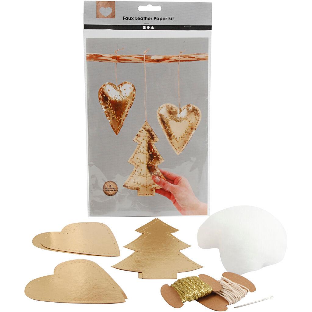 Creativ Company Décorations de Noël en papier imitation cuir, ép. 0,55 mm, or, 1 set