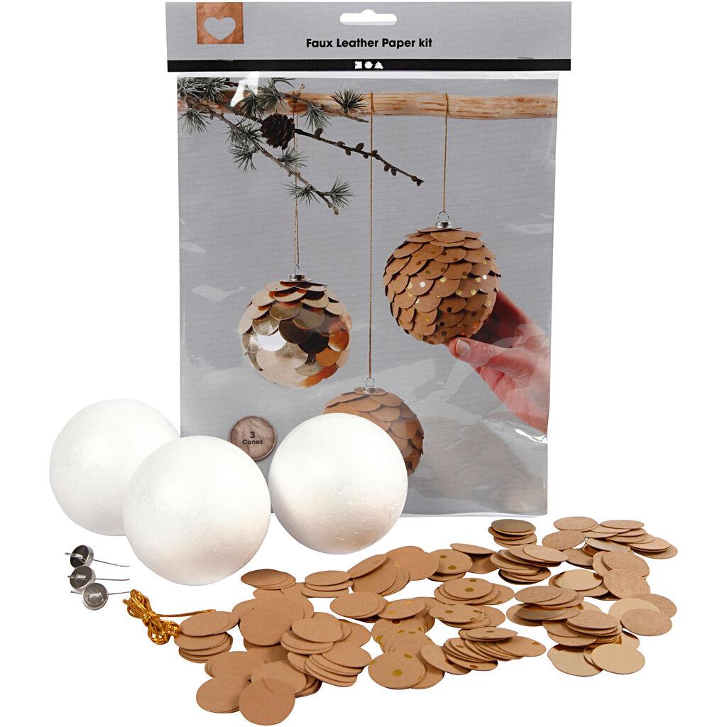 Creativ Company Pommes de pin en papier imitation cuir, d: 8 cm, ép. 0,55 mm, naturel, or, 1 set